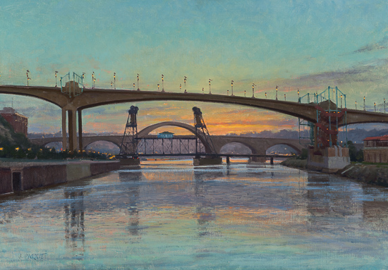 "Morning on the Mississippi, St. Paul , 28"" x 40""  $19,500"