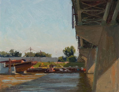Bridge Shadows and Barge Repair 8.25 x 10